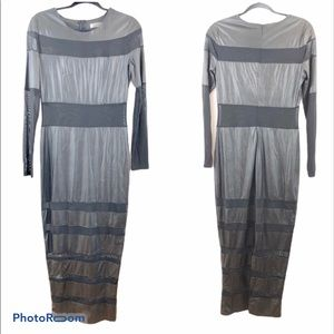 Rehab Faux Leather And Mesh Panel Stripe Dress